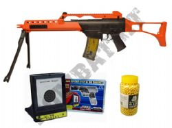 M41K2 G36 Sniper Airsoft BB Gun 2 Tone Black Orange + Target + 2000 pellets